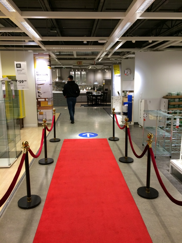 red carpet leading to IKEA's kitchen area