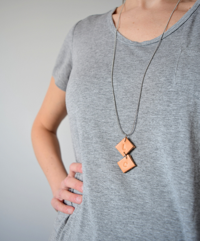 DIY Leather Initial necklace pendant - northstory