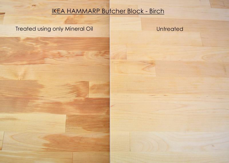 IKEA HAMMARP butcher block in Birch - Comparing one side treated with mineral oil to an untreated side - northstory