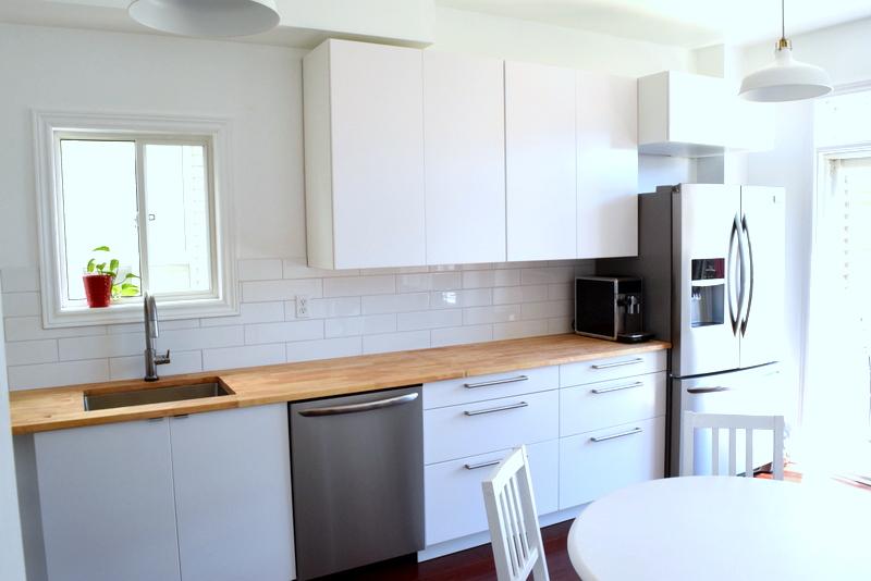 IKEA SEKTION kitchen reno - white kitchen - butcher block countertops - northstory