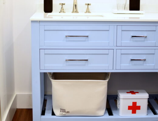 Light Blue Double Bathroom Vanity in a Master Bathroom